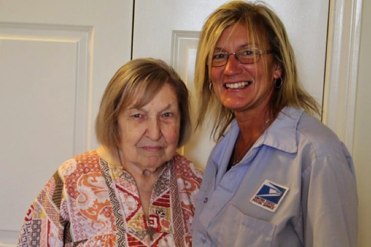 Postal Worker Becomes Unlikely Hero For Elderly Woman Days After A Nasty Fall