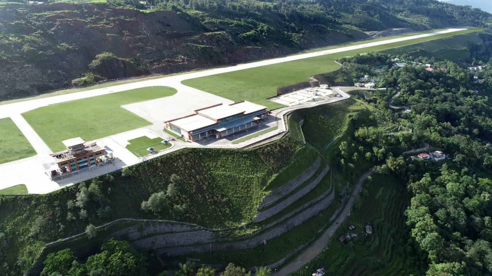 India's Paykyong Airport, Carved Onto The Himalayan Mountainside Is Now Open And Its View Is Breathtaking.