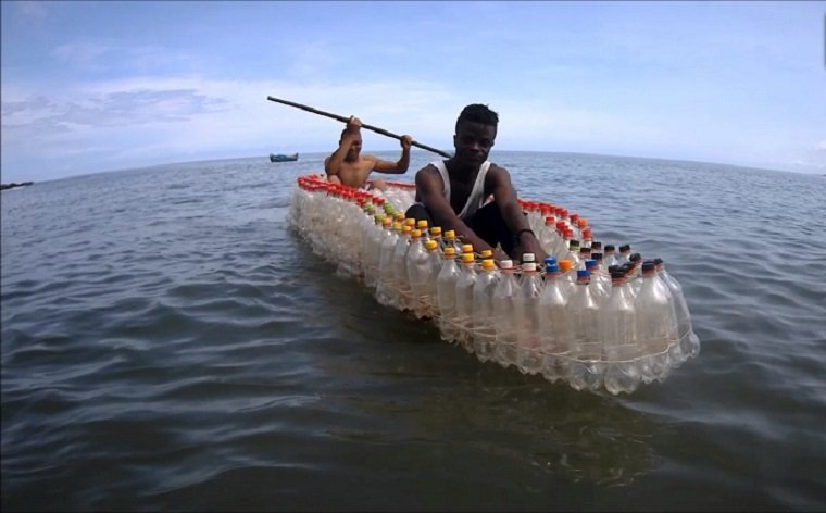 Innovative Man From Cameroon Has Built Boats For His Community By Upcycling Used Plastic Bottles They Can Find And The Turnout Is Genius!
