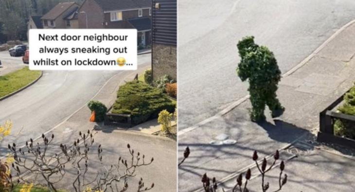 """Bush"" Man Is Filmed Creeping Down A Street During Quarantine"