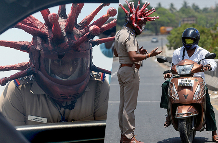 Indian Police Officer Sports Coronavirus-Designed Helmet To Warn People To Stay Home During Lockdown