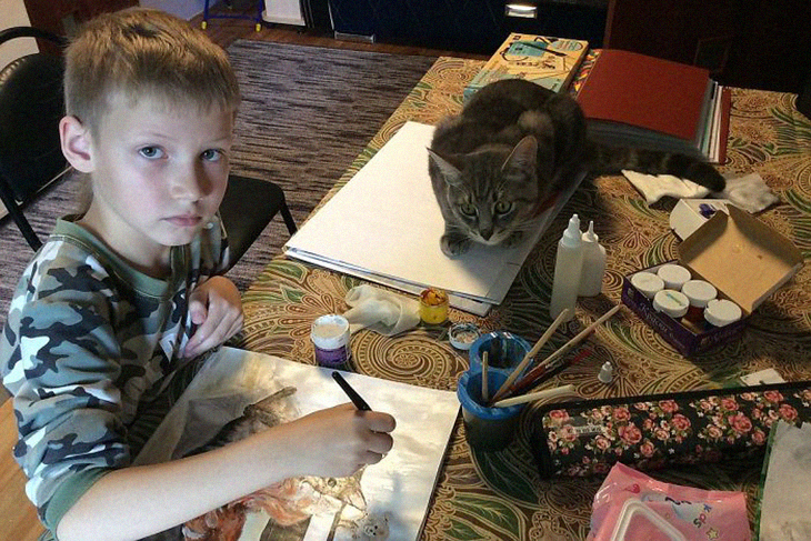 Pet Paintings Made By 9-Year Old Russian Boy Is Traded For Food And Supplies For Shelter Animals