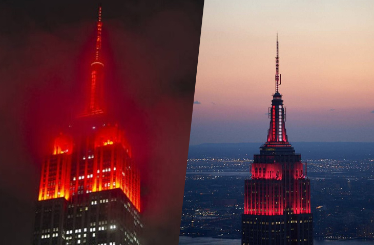 New Yorkers Alarmed By The Nightmarish Siren From The Red-Lit Empire State Building